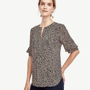 Ann Taylor Spotted Print Ruffle Sleeve Blouse
